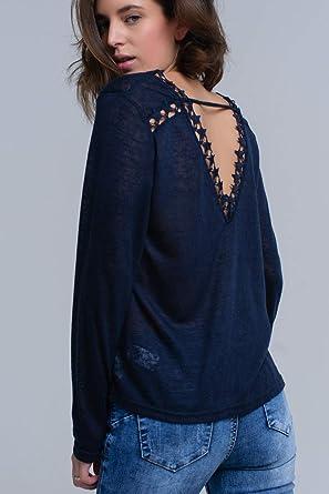 Q2 Camisa Azul Marino con Estrellas, L Mujeres: Amazon.es: Ropa y accesorios