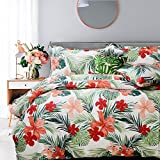 FADFAY Tropical Red Hibiscus Flowers Vegetation Palm Leaves Hawaiian Summer Duvet Cover Set Super Soft 100% Cotton Hypoallergenic and Comfortable,1 duvet cover & 2 pillow shames,Queen Size