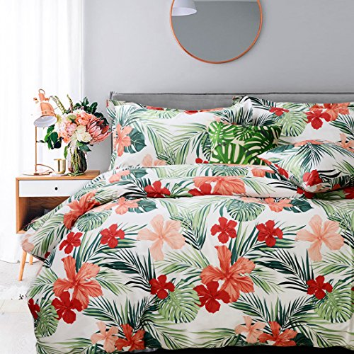 (FADFAY Tropical Red Hibiscus Palm Leaves Duvet Cover Set Super Soft Summer Bedding 100% Cotton Hypoallergenic and Comfortable with Hidden Zipper Closure Queen Size)