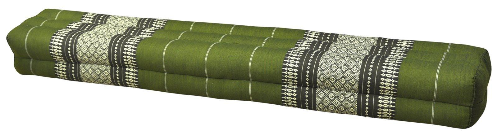 Thai cushion bolster , pillow, sofa, imported from Thaïland, green, relaxation, beach, pool, meditation garden (81811)