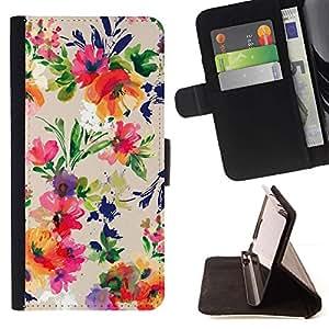 For Samsung Galaxy S6 Case , Flores del vintage Dibujo Wallpaper Flores- la tarjeta de Crédito Slots PU Funda de cuero Monedero caso cubierta de piel