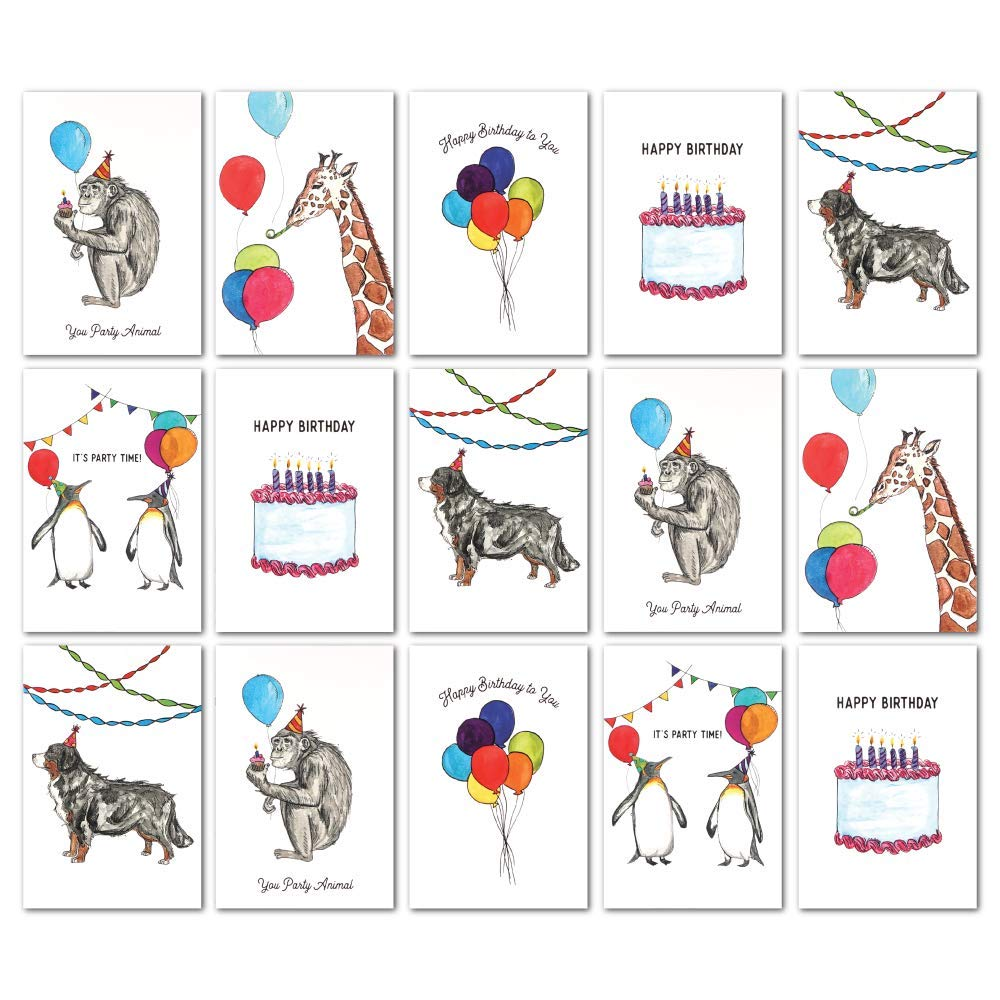 Assorted Animal Happy Birthday Cards: 36 Pack - 4 x 6 Blank Inside Bulk Box Set with Envelopes - Watercolor Adult Kids Bday Greeting Card for Every & All Occasion: Boxed Assortment of Cute White Notes