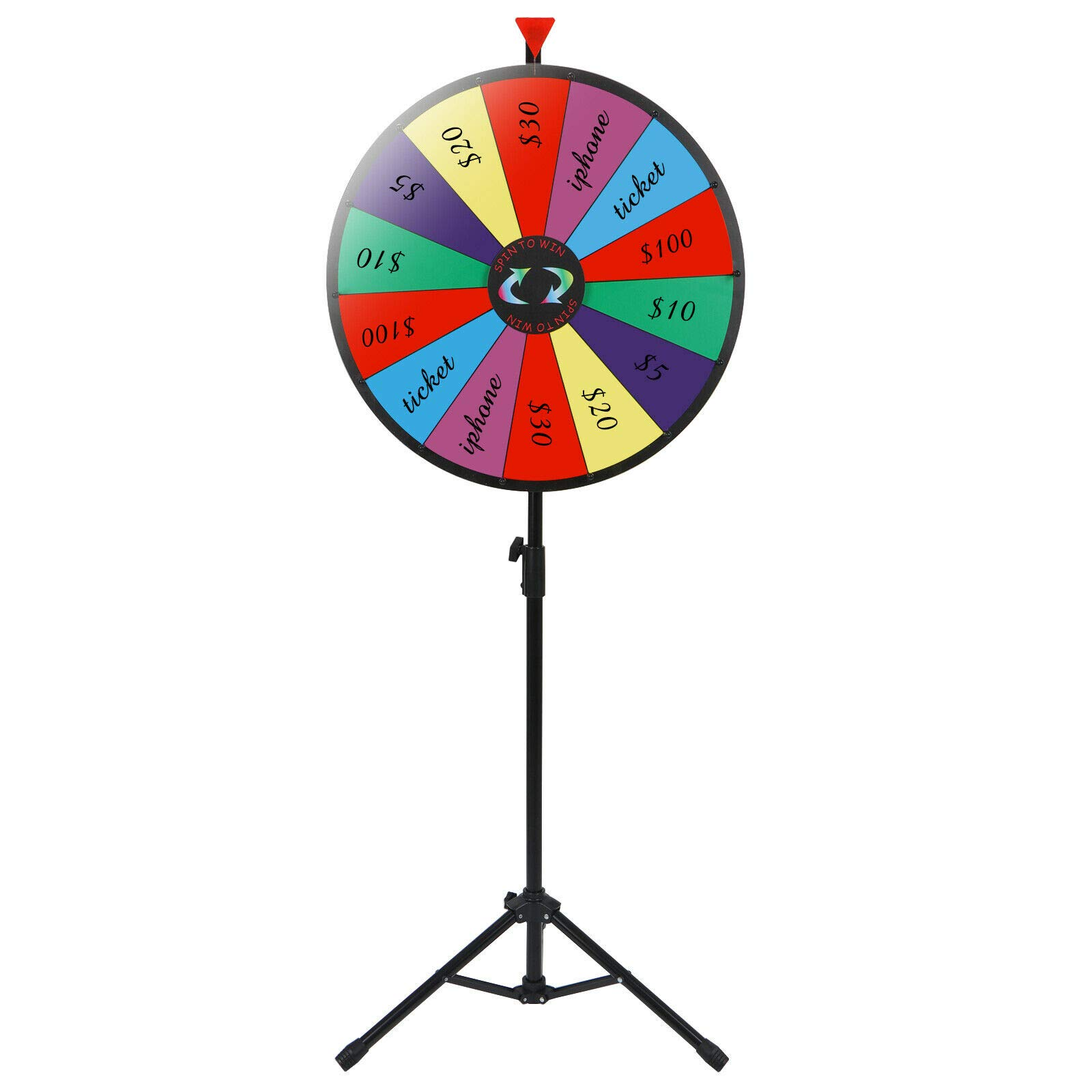 24'' Prize Wheel Metal Tripod Adjustable Floor Stand Editable Reusable Dry Erase Color Portable 14 Slot Perfect For Trade-shows Promotion Activities Carnivals Annual Meetings Holiday Activities Parties by Auténtico (Image #1)