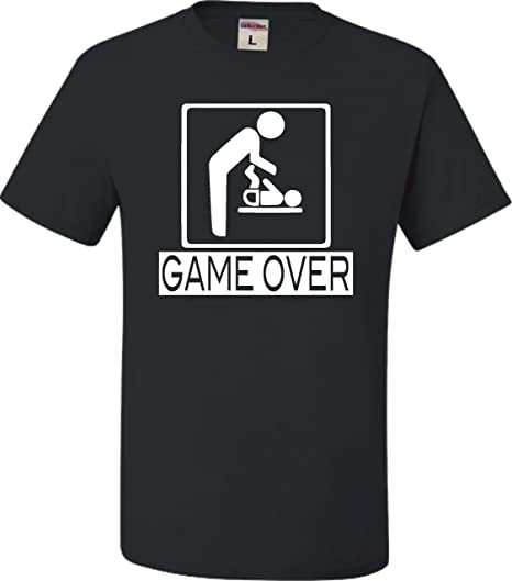 854a3889d Amazon.com: Adult Game Over New Dad New Father Funny T-Shirt: Clothing