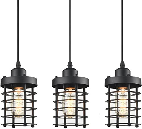 WINSOON 3 Pack Pendant Light Fixture Mini Rustic Metal Cage Hanging Lighting Black, 3Pack