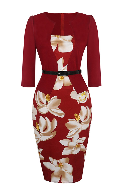 Women's Retro 1950s Style Sleeveless Slim Business Pencil Dress (Burgundy,4XL)