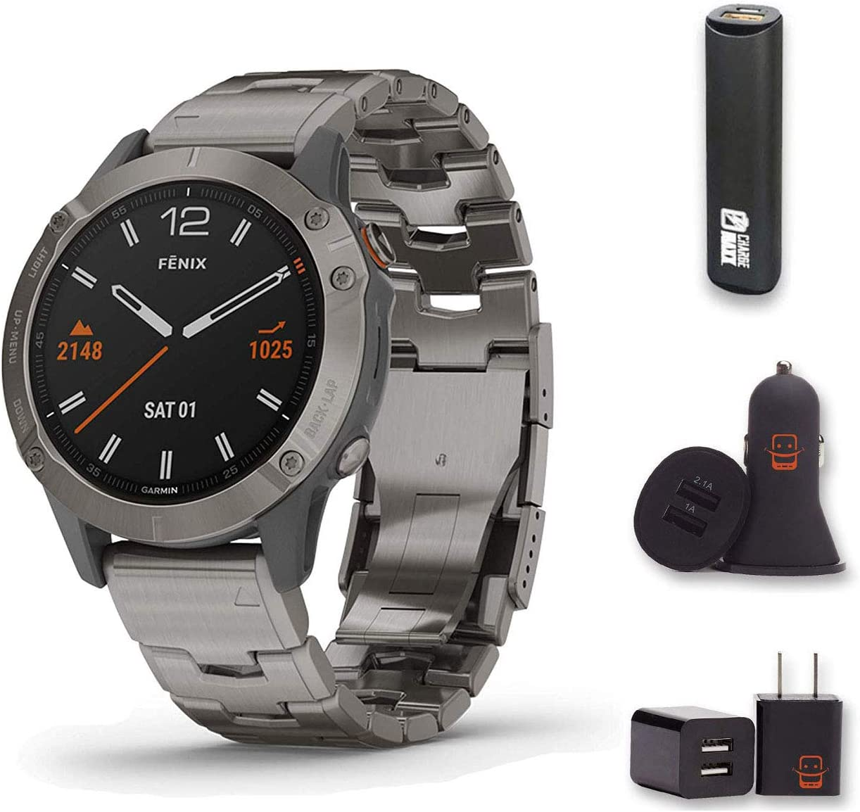 Garmin Fenix 6X Pro Solar - (Dary Gray w/Black Band) Bundle with PowerBank + USB Car Charger + USB Wall Charger (4 Items)