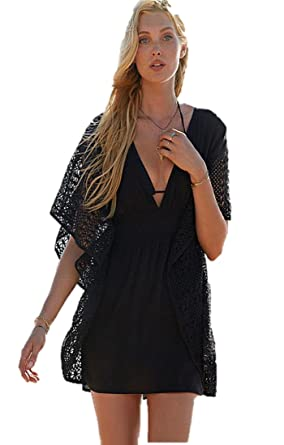 Victorias Secret Swim Cover Up Tunic Black Plunge Front Caftan