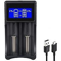 WholeFire 18650 oplader, LCD-scherm, intelligente USB-oplader voor oplaadbare Li-ion 18650 26650 18490 17670 17500 16340…