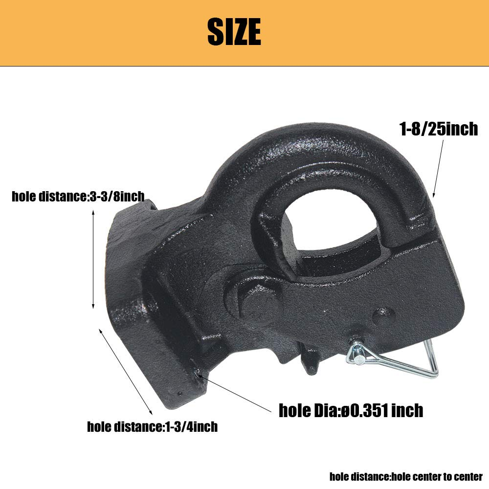 Included Bolt Kit Gtw Pintle Mount Required Open Road Brands OPENROAD 10T Pintle Hook Hitch 20000lbs