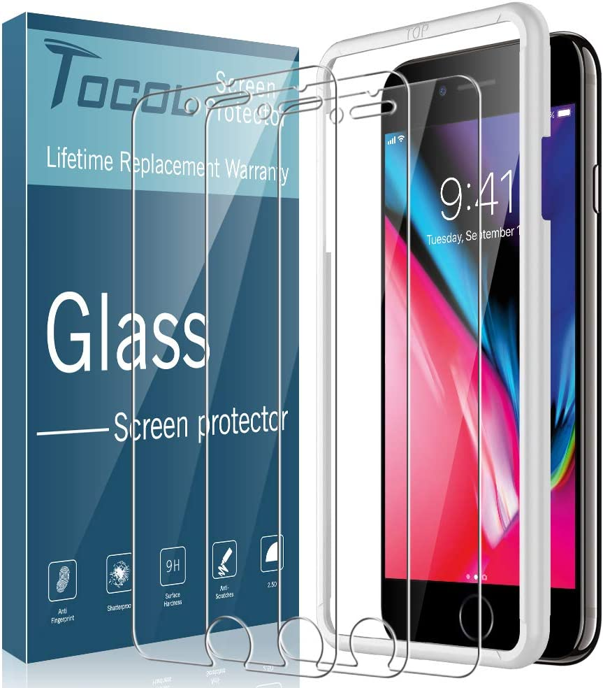 TOCOL [3Pack] for iPhone 7 and iPhone 8 Screen Protector Tempered Glass HD Clarity Touch Accurate [9H Hardness] Easy Installation Tray