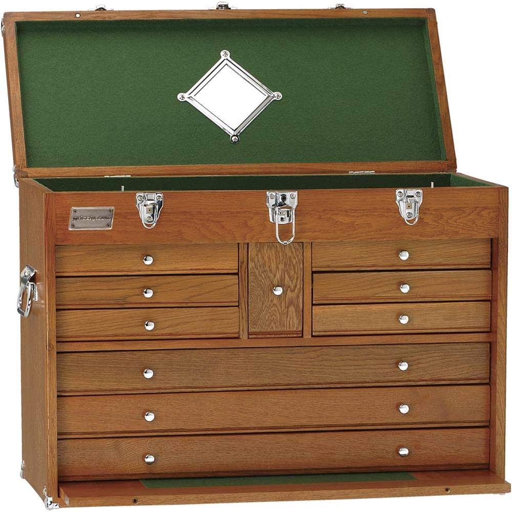 Grizzly H7716 Oak 10 Drawer Chest, 26-Inch