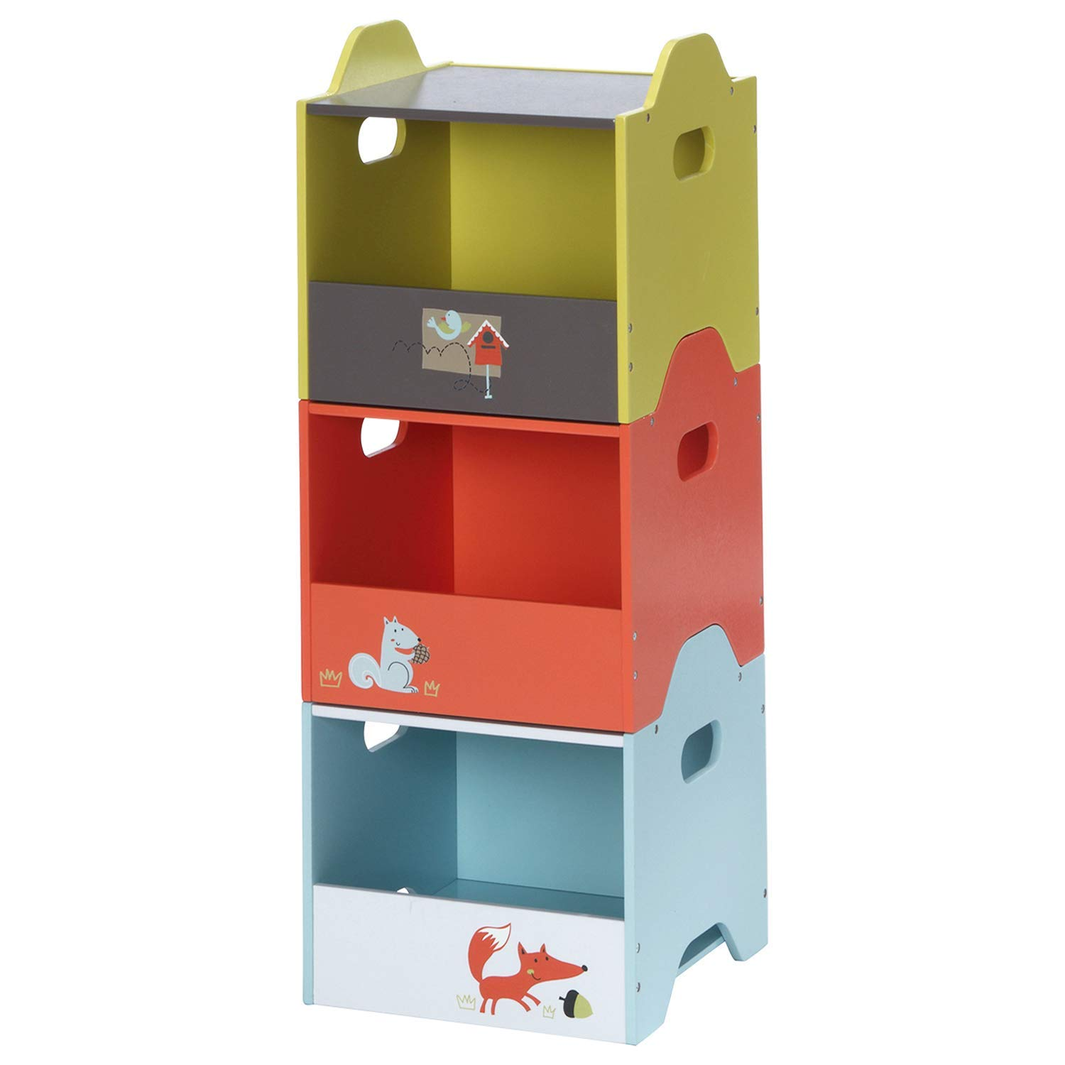 labebe - Storage Bins, Toy Wooden Storage Cubes Box, Kid Toy Organizer and Storage for 1-5 Years Old, 3 Toy Stacking Bins, Cube Useful Stackable Storage Bins, Toy Box Container as Birthday Gift - Fox