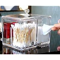 YAH Caja de almacenamiento cosmético de acrílico transparente Cotton Pad Swab Organizadores de maquillaje con tapa…