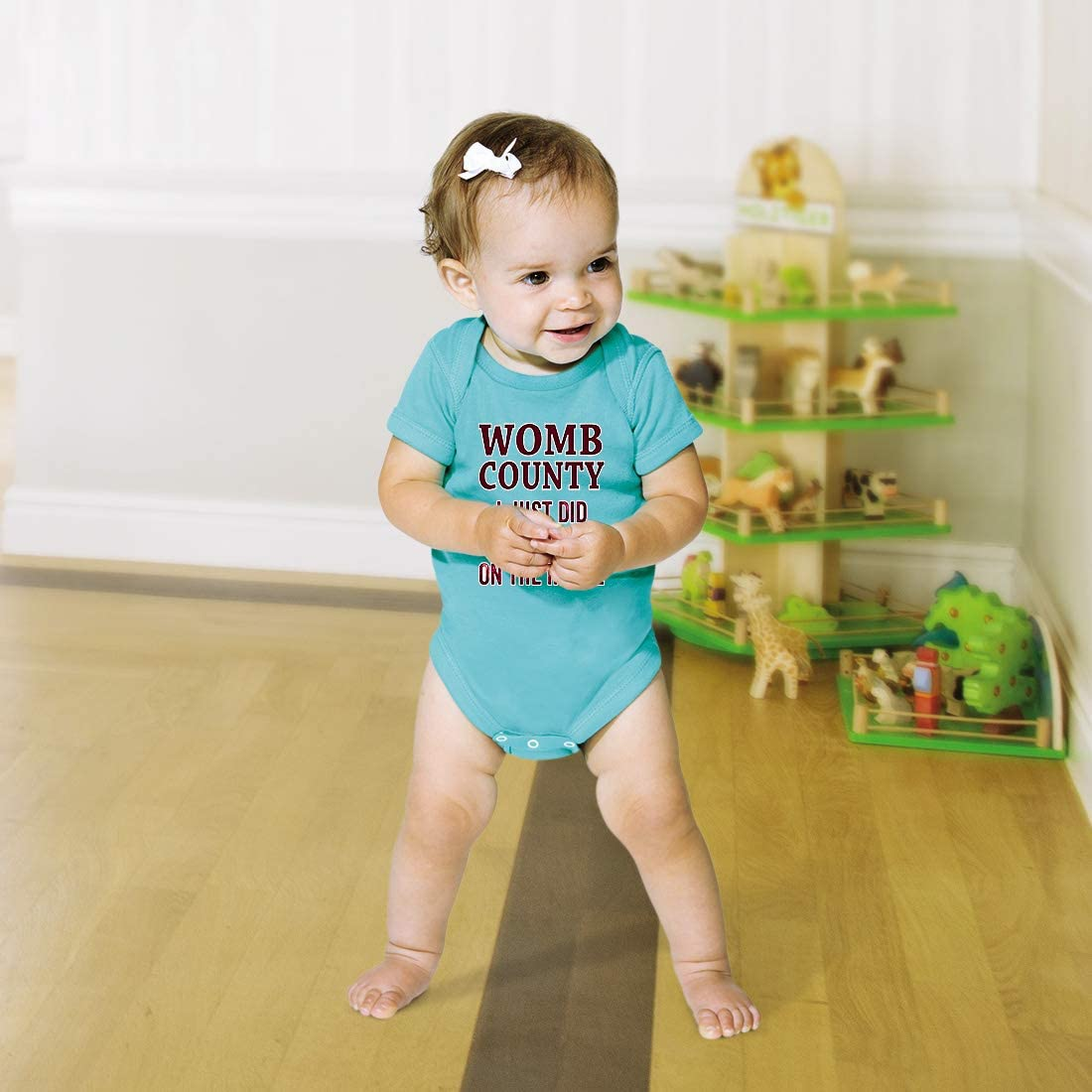 Cute Rascals Womb County I Just Did 9 Months On The Inside Cotton Baby Bodysuit One Piece