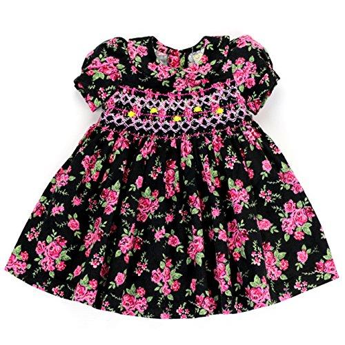 sissymini Hand Smocked & Hand Embroidered Dress Vintage Pink Floral on Black Corduroy 4T