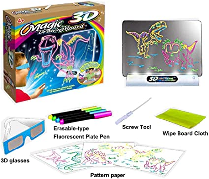 kids Hi-Tech Drawing Board Toy Portable Glow Pad Tablet Size 7 Changing Lights