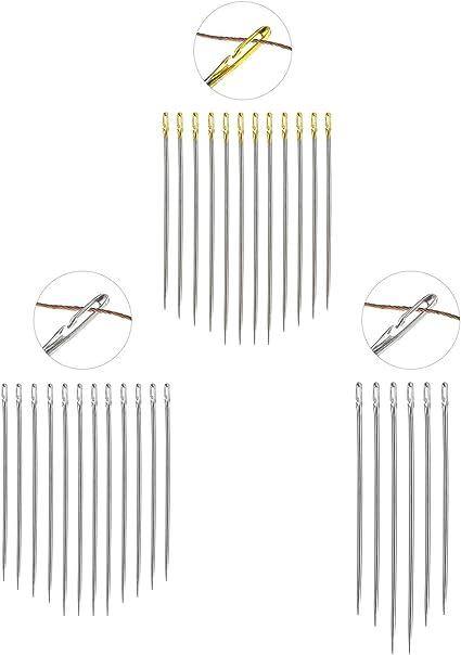 EASY THREAD ASSORTED SIZES 30Pcs Self-Threading Sewing Needles Big Eye US