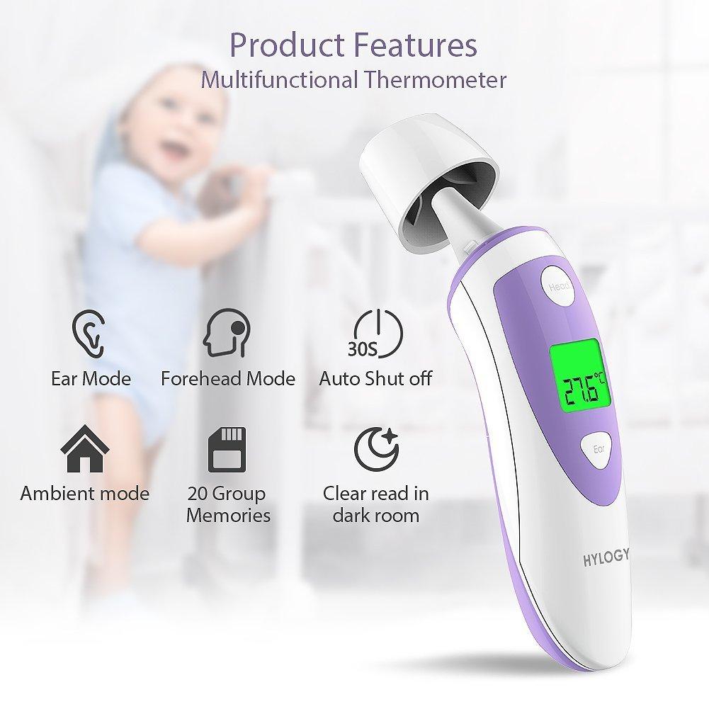 Termómetro infrarrojos Termómetro de oído, hylogy frente termómetro digital Termómetro 4 en 1 Función para bebés y adultos, con función de medición, ...
