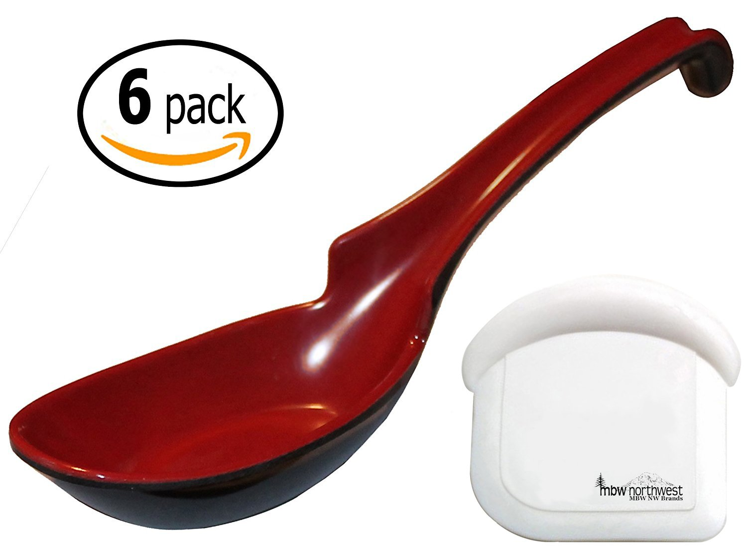 Ladle Melamine Hook Soup Spoons with Pan Scraper, Red and Black, 6 Pack