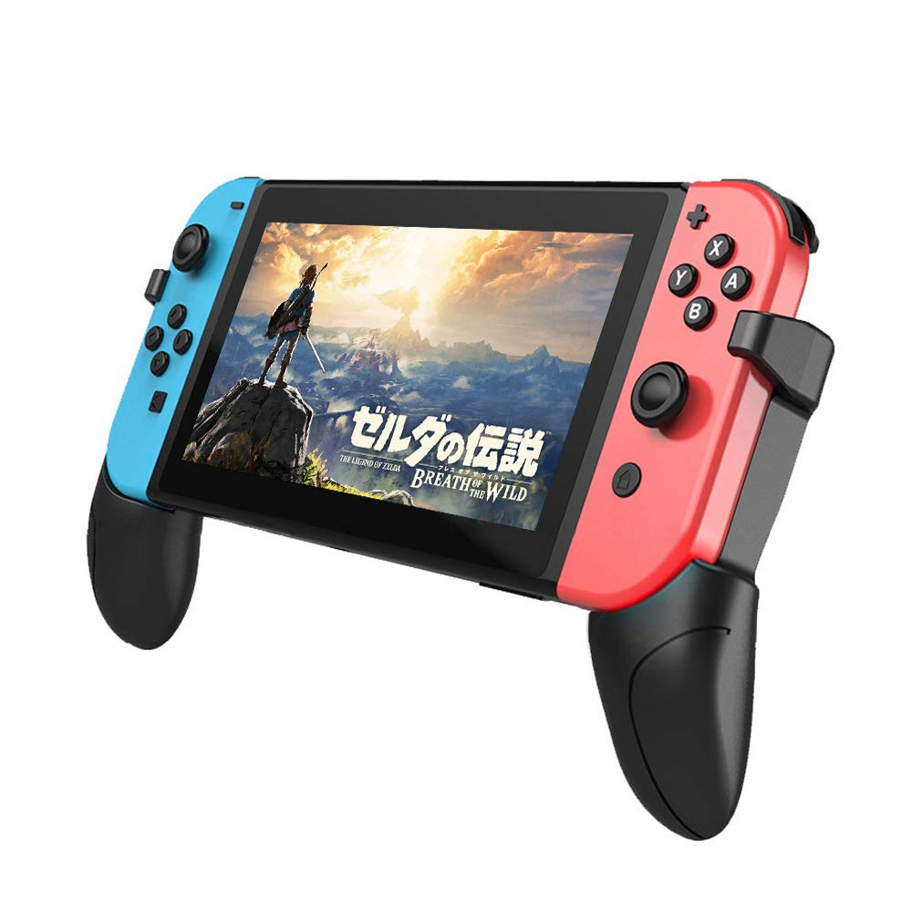 SLEO 2019 Newest Nintendo Switch Lite Multifunction Grip Stand,Ergonomics Comfort Switch Hand Grip Handle Kit with Game Card Slots for Nintendo Switch Lite - Black by SLEO