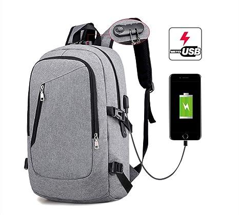 KADUNDI - Mochila para ordenador portátil con puerto de carga USB y bloqueo codificado, resistente