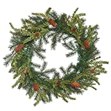Vickerman E151624 Hemlock Angel Pine Wreath with Cone & 65 PE Tips, 20''