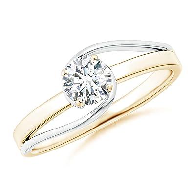 Angara Slanted Five Stone Diamond Bypass Ring in Two Tone PZWo8kFE