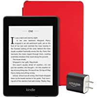 All-new Kindle Paperwhite Essentials Bundle including Kindle Paperwhite 32GB - Wifi with Special Offers, Amazon Leather Cover - Punch Red, and Power Adapter