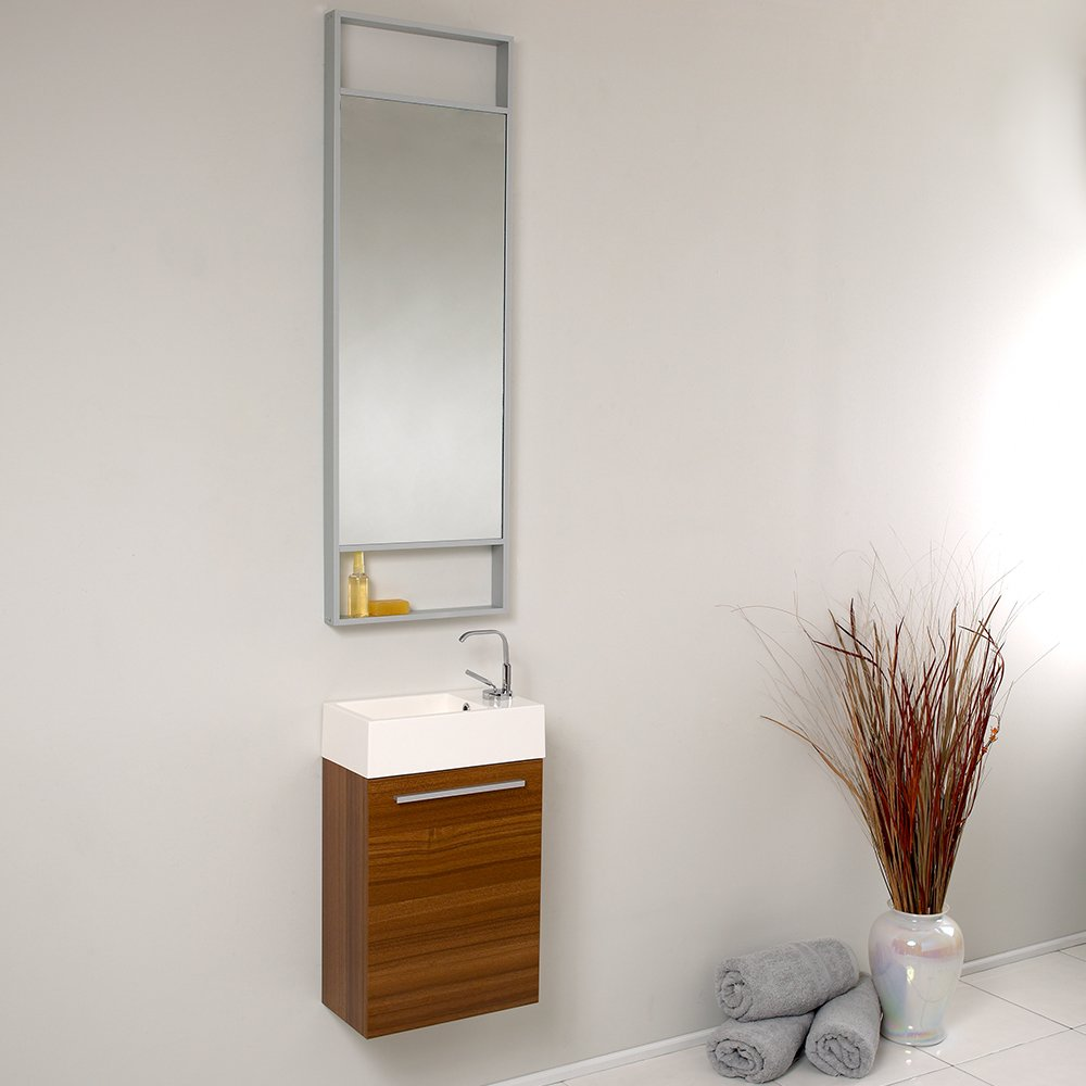 Bathroom vanity with tall cabinet - Fresca Bath Fvn8002tk Pulito Small Vanity With Tall Mirror Teak Amazon Com