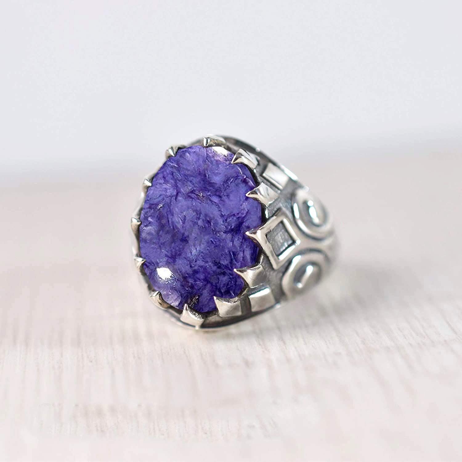 Gifts for Her Faceted Large Marquise Purple Charoite Sterling Silver Statement Ring Charoite Ring Rocker Purple Gemstone Ring Boho