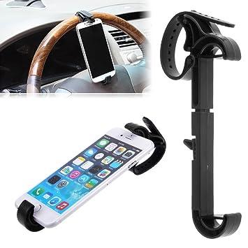 Soporte universal para coche GPS de volante para smartphone de color negro: Amazon.es: Electrónica