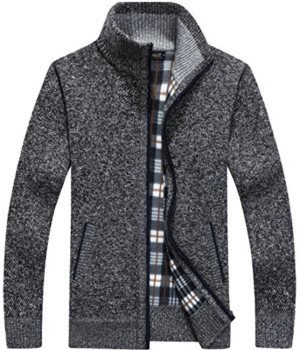 Full 5 Men's Pockets Sweaters Zip amp;S M With Slim Knit amp;W Cardigan Thick IwC7gq6R