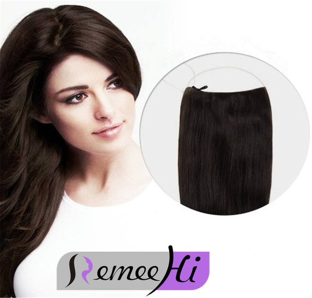 Amazon.com : Remeehi Straight Invisible Wire Halo Hair Extensions ...