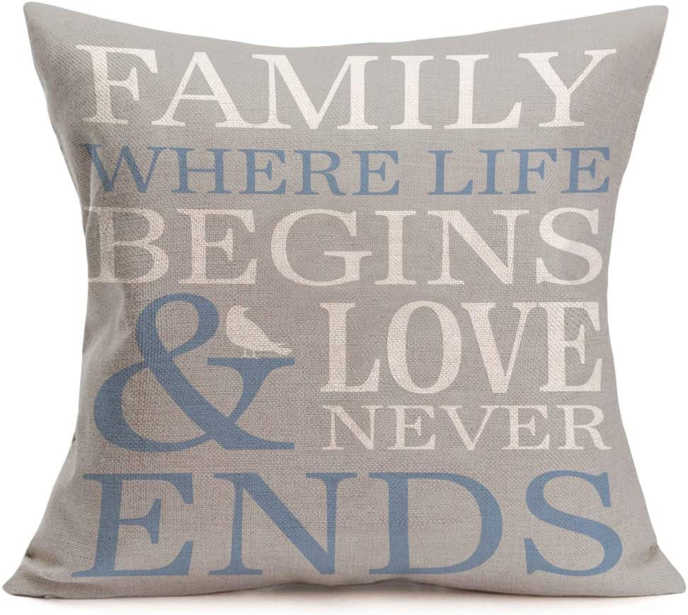 Asamour Inspirational Quotes Cotton Linen Throw Pillow Case Cushion Cover Warm and Healing Lettering Pillow Sham Home Sofa Decor Pillowcase 18''x18'' (Family Where Life Begins)