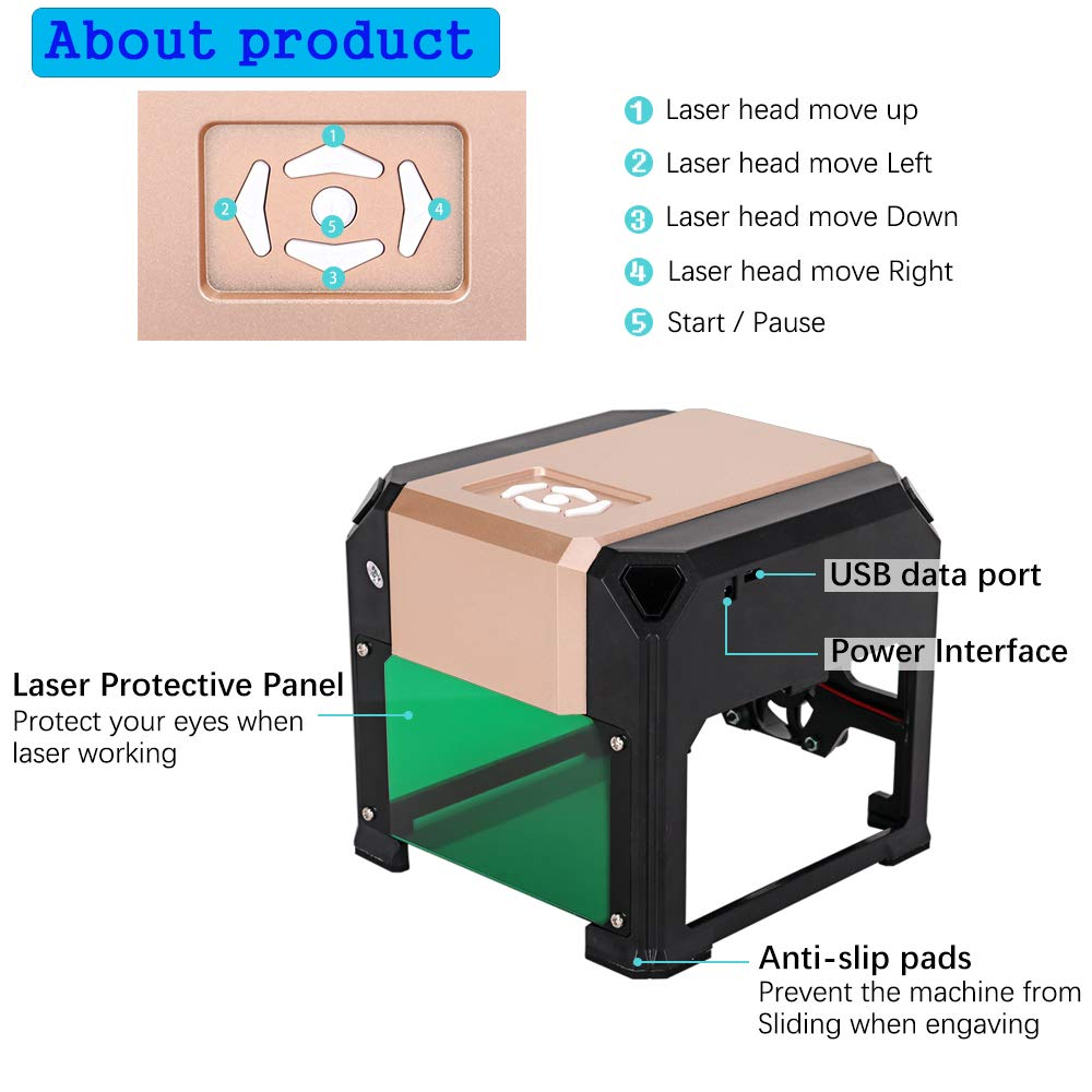Laser Engraver, MYSWEETY 3000MW Mini DIY Laser Engraving Machine, Desktop Laser Engraver Printer, CNC Laser Carving Machine for Wood, Plastic, Bamboo, Rubber, Leather(Working Area: 8x8cm) by MYSWEETY (Image #4)