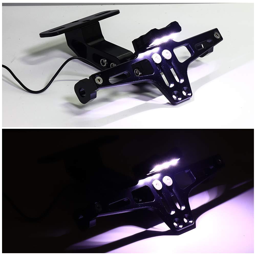 Avec plaque LED R/églable En aluminium Cadre de support de plaque dimmatriculation de moto