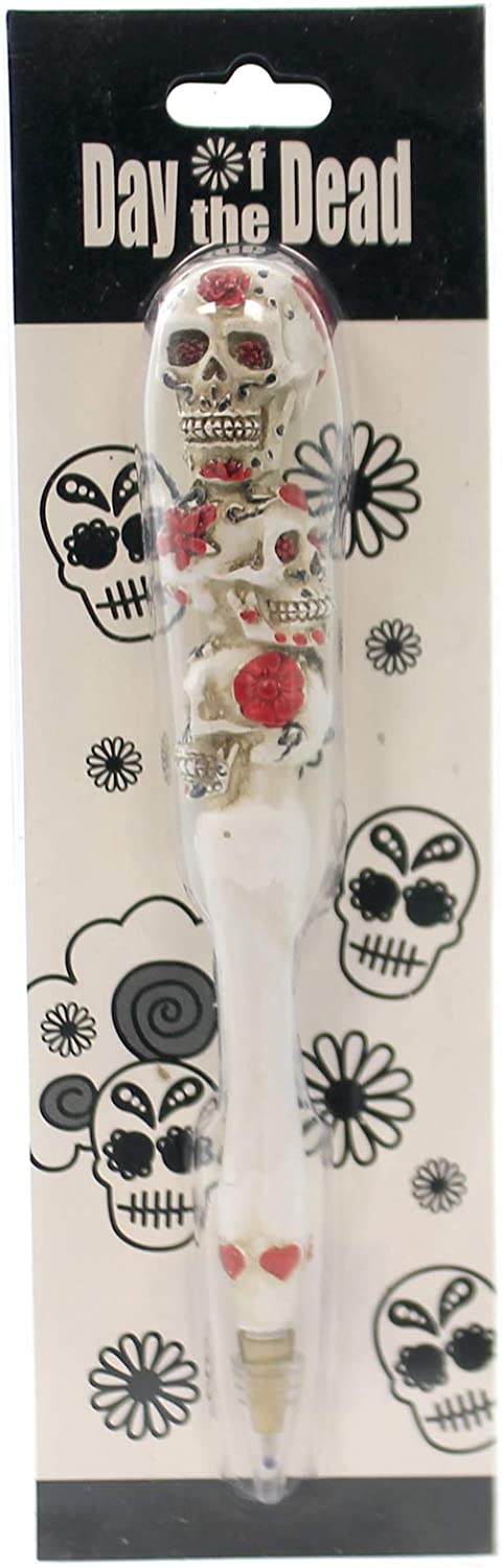 Pacific Trading White Day of The Dead Candy Skull Pen Red Rose Triple Skull