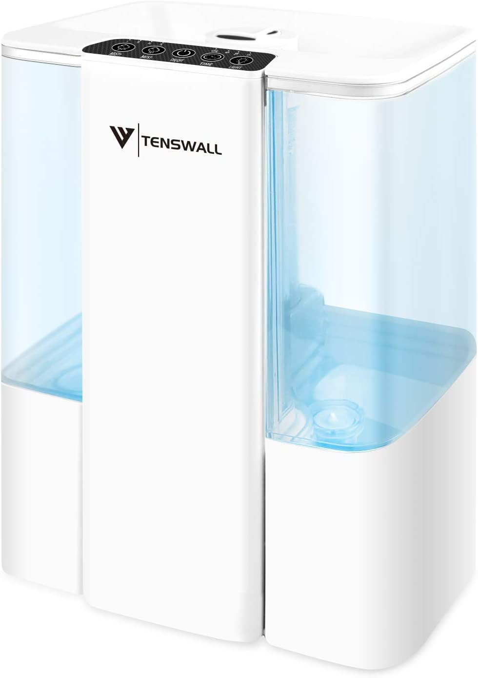 Tenswall Cool Mist Humidifier, 5L Ultrasonic Humidifiers Last 48 Hours for Home, Baby, Large Room, Adjustable Mist Output, 360°Nozzle Quiet Operation Humidifier, Auto Shut Off,Easy to Clean (White)