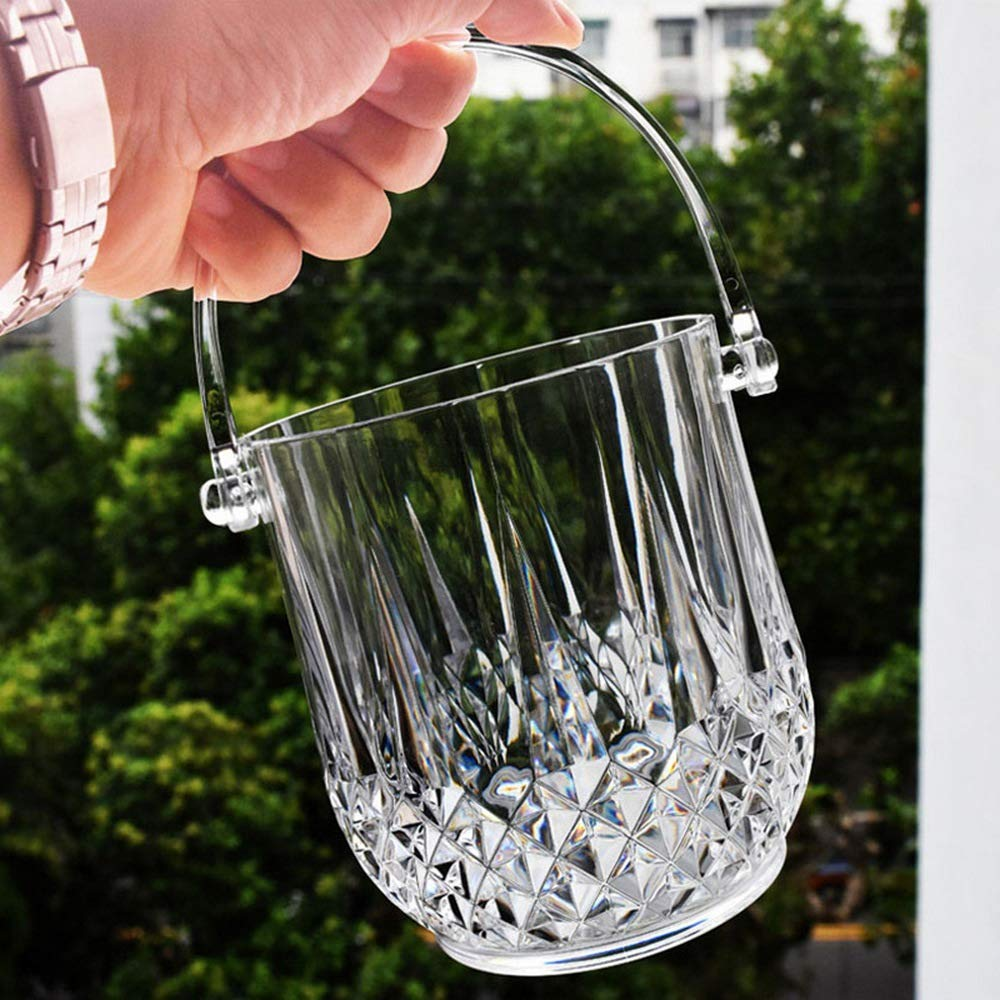 CHYOOO Ice Bucket 1L Round Acrylic Mini Cute Transparent Drop-Resistant Side Handle Cooler Bucket Ice Clips for Party Bar Beer And Champagne