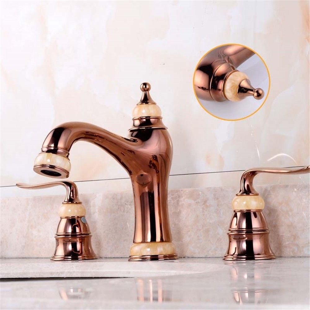 ETERNAL QUALITY Bathroom Sink Basin Tap Brass Mixer Tap Washroom Mixer Faucet Three-hole faucet hot and cold natural jade gold faucet 360-degree redation Mixer Taps b Kit