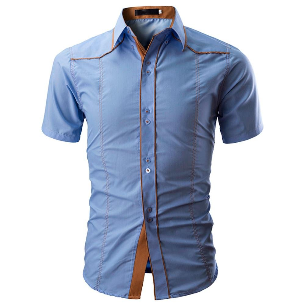 Longay Men's Shirt Plus Size Slim Fit Short Sleeves Casual Buttons Shirts Formal Top Blouse (L, Blue)