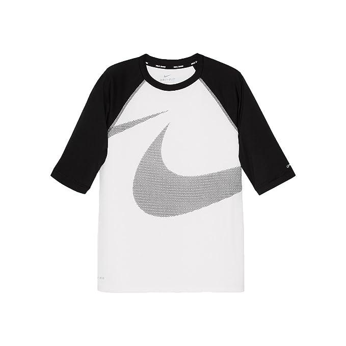 371fc501 Nike NESS8684 Boys' Macro Swoosh Half Sleeve Hydroguard, White - X-Large