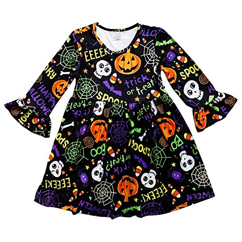 So Sydney Girls or Toddler Fall Holiday Polka Dot, Scroll, Stripe Pumpkin Dress (XS (2T), Spooky Halloween) ()