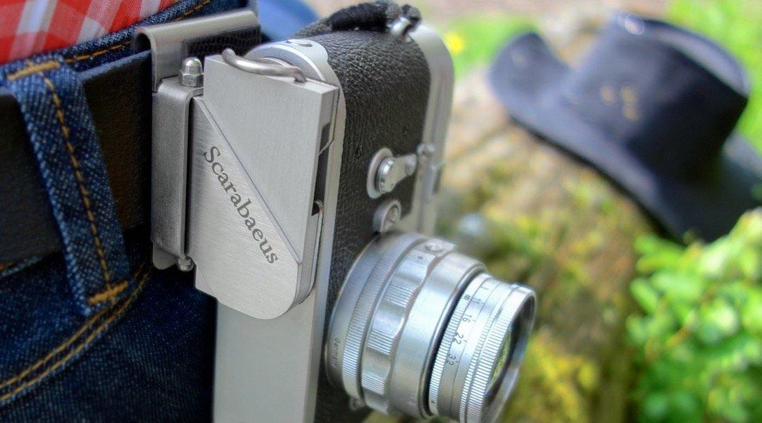 カメラホルスターシステムScarabaeusクラシックシルバースチール、アルミ製 - エレガント&スタイリッシュ   B07C22HGZ6
