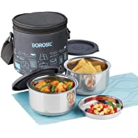 Borosil Carry Fresh Stainless Steel Insulated Lunch Box Set, 280ml, Set of 2, Grey