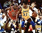 Lakers Magic Johnson Signed 8X10 Photo w/ Michael Jordan ITP 1 - PSA/DNA Certified - Autographed NBA Photos