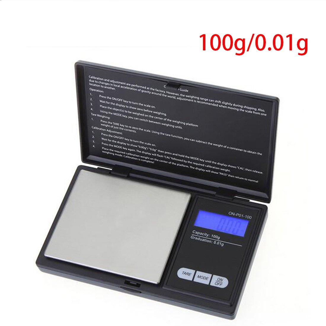 100 G/0.01g Mini Digital escala joyas escala de precisión de bolsillo electrónico Escala LCD Clamshell, ligero y portátil, 2, 200g/0.01g: Amazon.es: Hogar