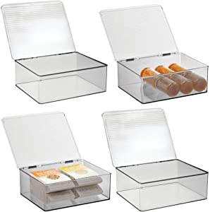mDesign Plastic Stackable Kitchen Pantry Cabinet/Refrigerator Food Storage Container Box, Attached Lid - Organizer for Coffee, Tea, Packets, Snack Bars - BPA Free, Food Safe, 4 Pack - Clear/Smoke Gray