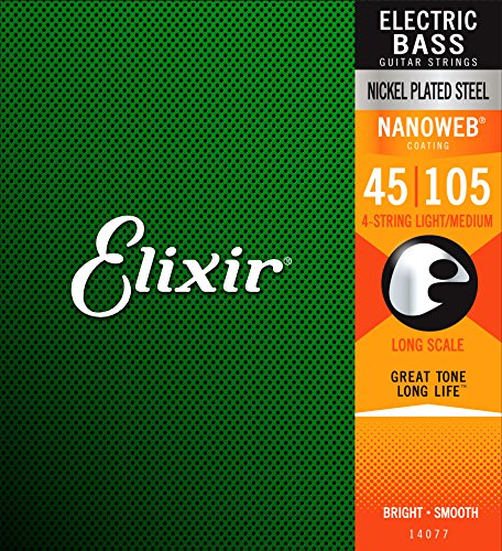 Elixir Strings Nickel Plated Steel 4-String Bass Strings w NANOWEB Coating, Long Scale, Light/Medium (.045-.105)